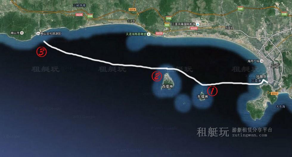 三亚旅游游艇租赁 三亚港-东西岛-南山寺航线