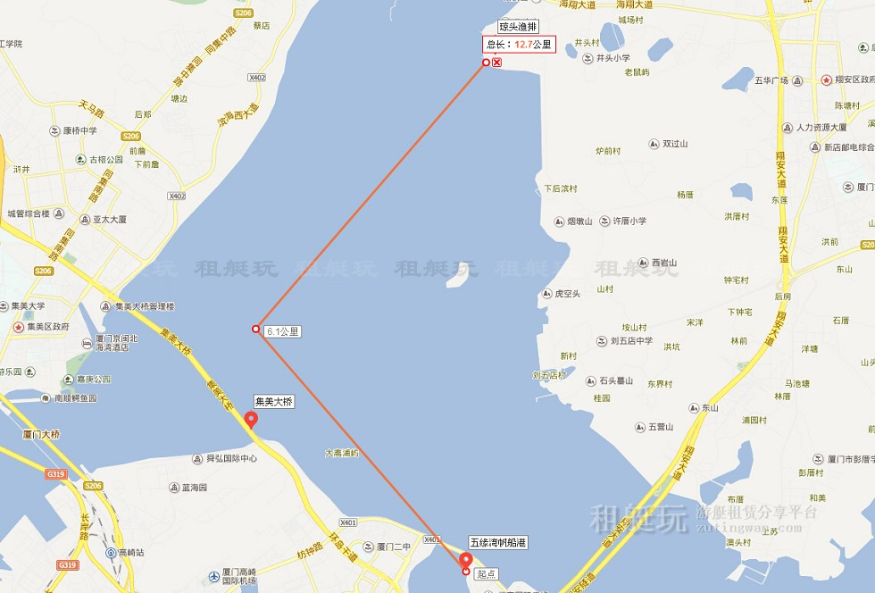 五缘湾→集美大桥→琼头渔排→五缘湾
